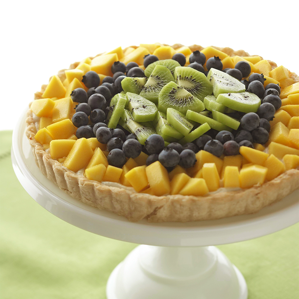 A fat-conscious baked oil pastry replaces traditional pie crust, and a tofu-yogurt blend takes the place of whipping cream in this luscious cream tart. It's topped with blueberries, mango, and kiwi slices, but by substituting other fresh fruit you have on hand, you can really change the look and taste of this delicious dessert. Source: Diabetic Living Magazine