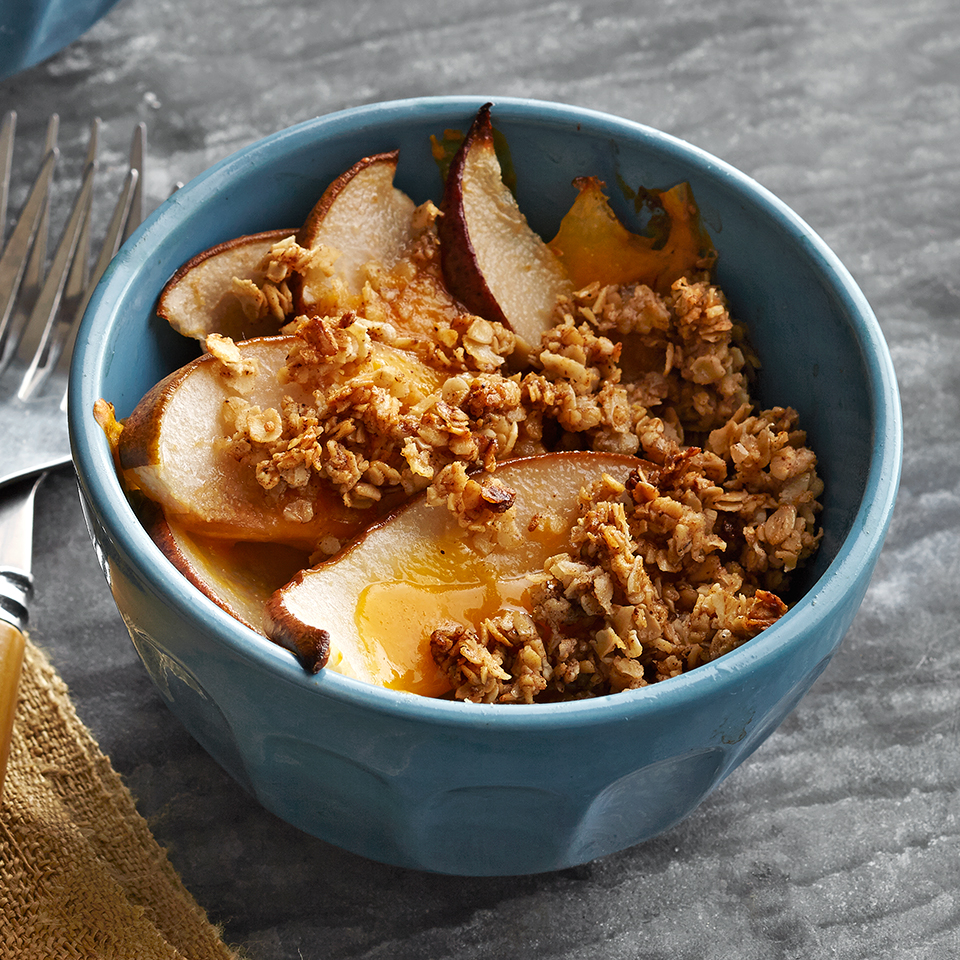 In this 35-minute recipe, sweet pears and savory Cheddar cheese are topped with a buttery brown sugar- and cinnamon-oat topping. Whether you serve it for breakfast, a snack, or dessert, we know it will be a hit with your family. Source: Diabetic Living Magazine