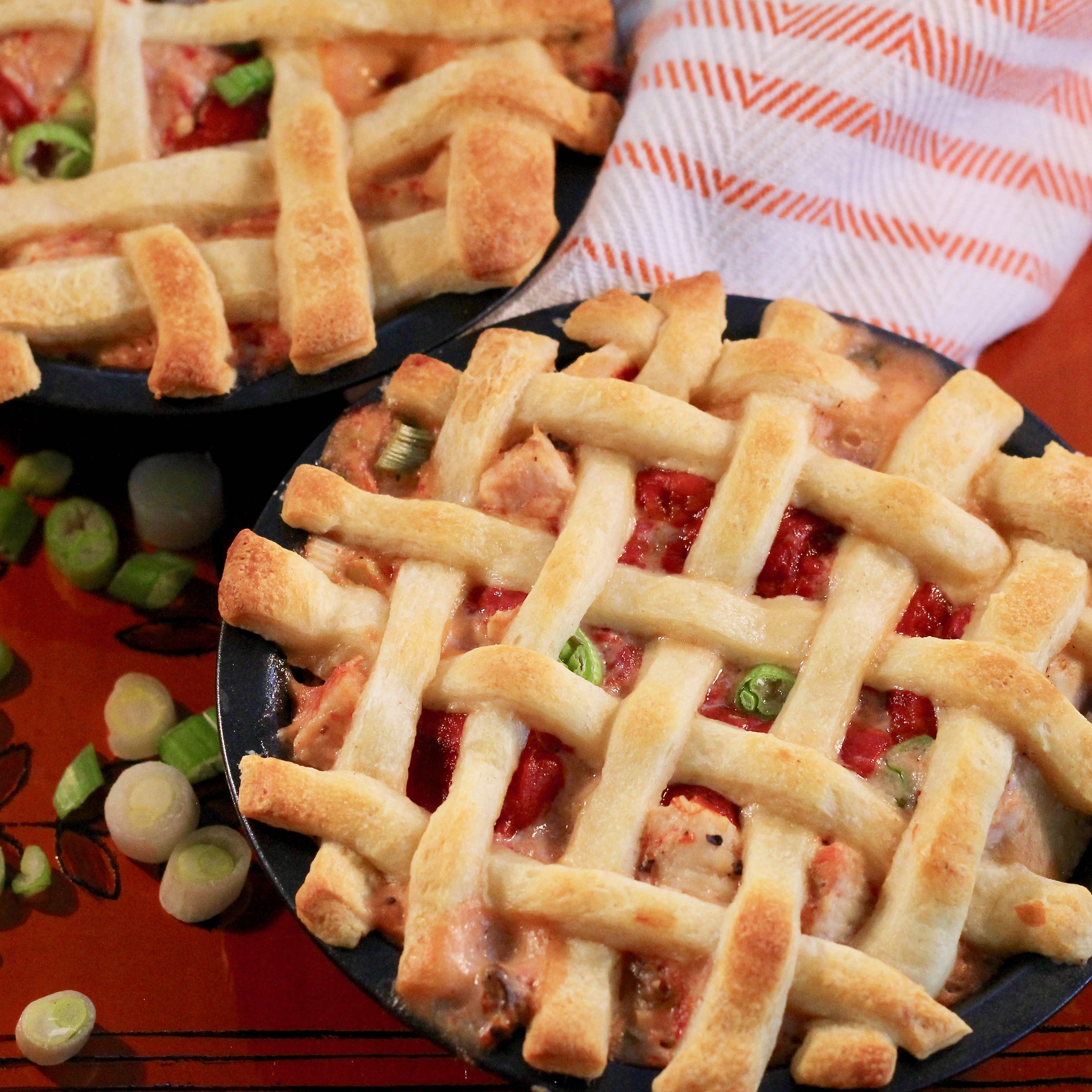 Lattice Chicken and Peppers Pie