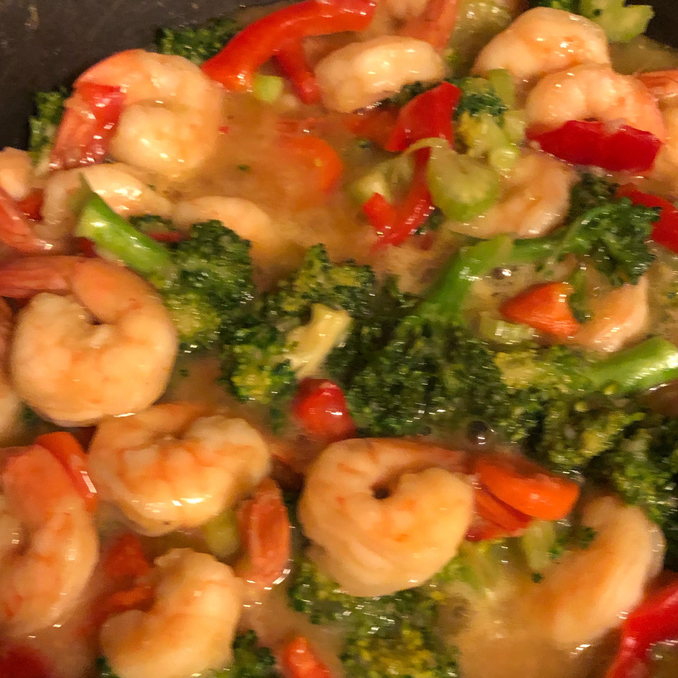Shrimp with Broccoli in Garlic Sauce