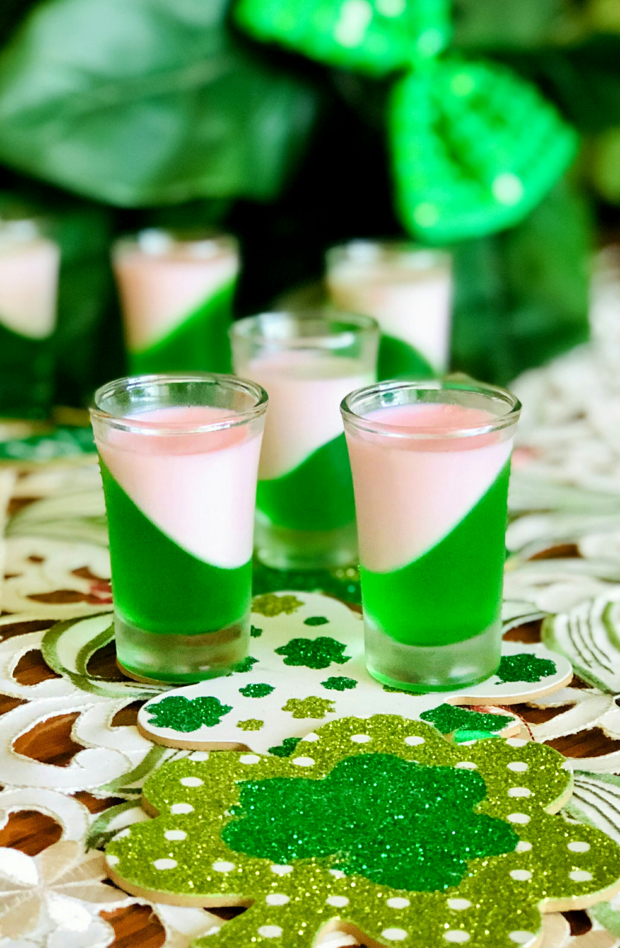 """A fun and tasty way of keeping your Jell-O shots Irish,"" says Yoly. ""Just add Irish whiskey and Baileys Strawberries & Cream liqueur to your layered shot glasses.""                                   Add a shot of Irish Wisdom: Forgetting a debt doesn't mean it's paid."