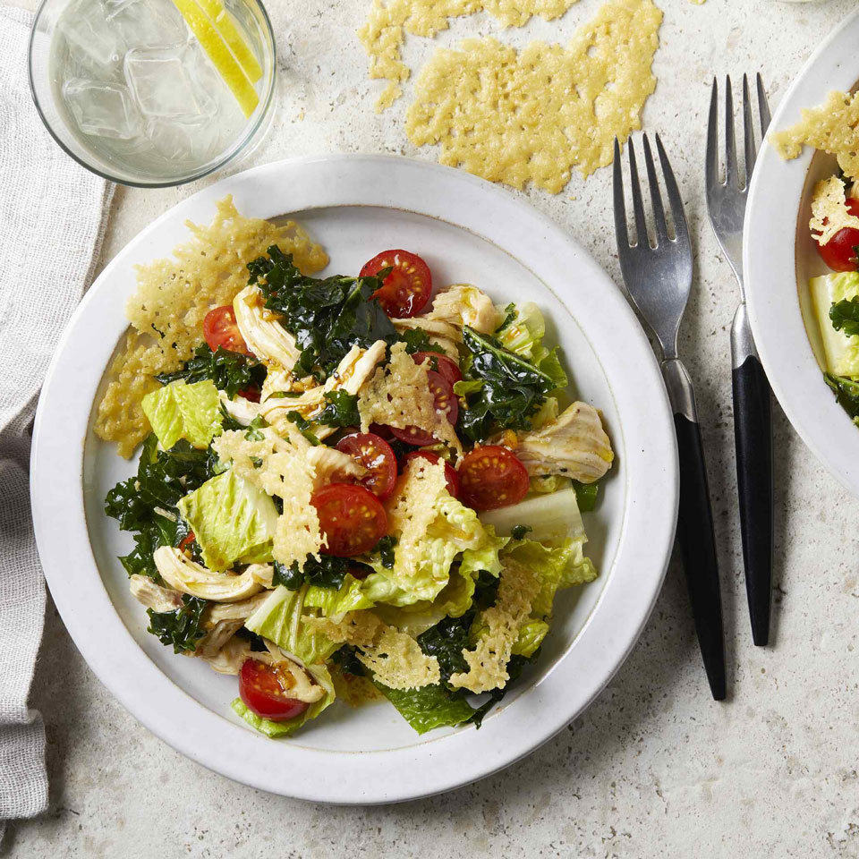Replacing some of the romaine lettuce with massaged kale gives this classic Caesar salad a nutritional upgrade. The homemade Caesar dressing is rich and so flavorful you'll swear off bottled varieties. For an extra-delicious topping, bake the Parmesan into tempting cheese crisps called frico. Source: EatingWell.com, February 2019