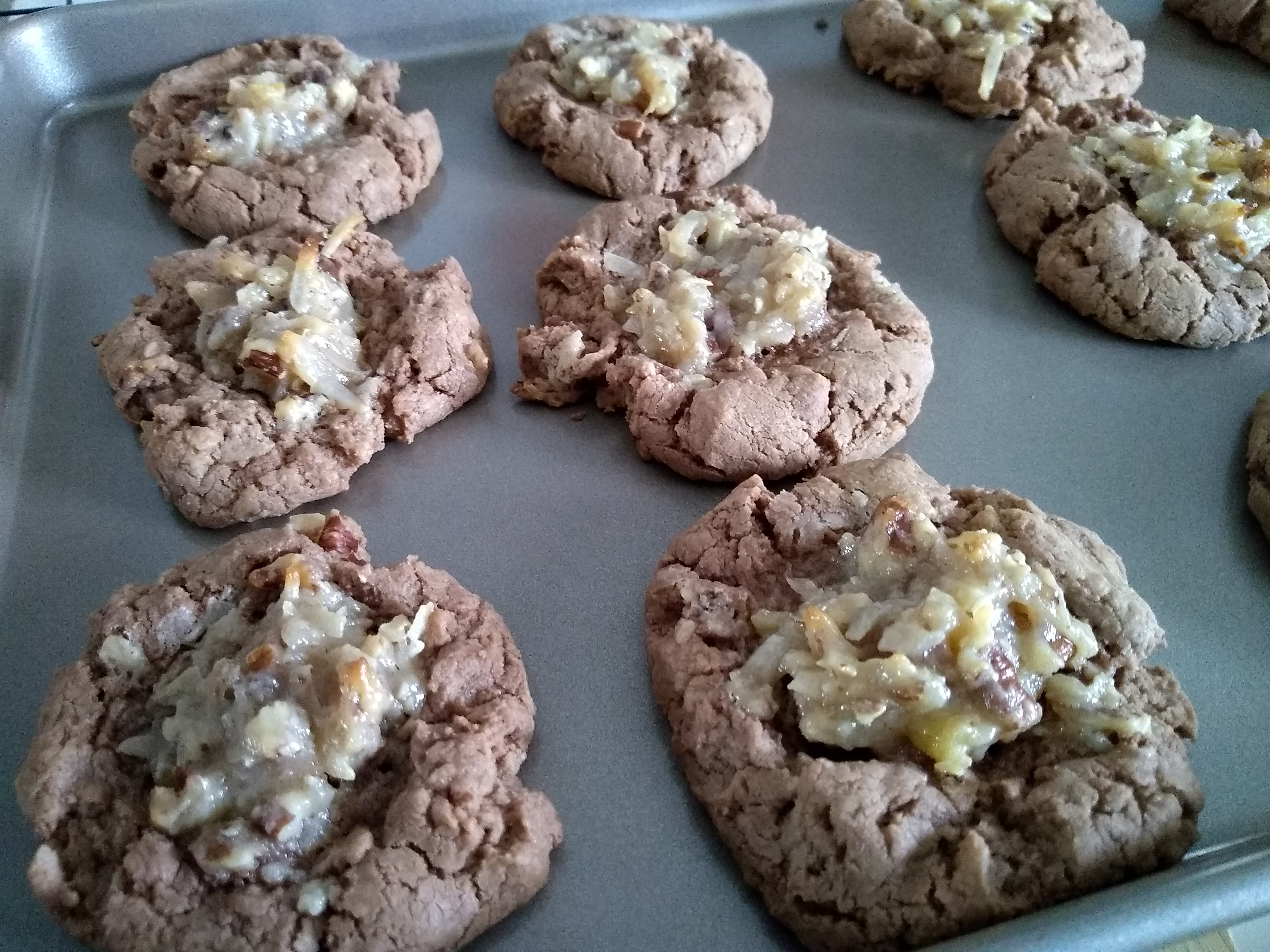 German Chocolate Thumbprint Cookies Judy Fredrick