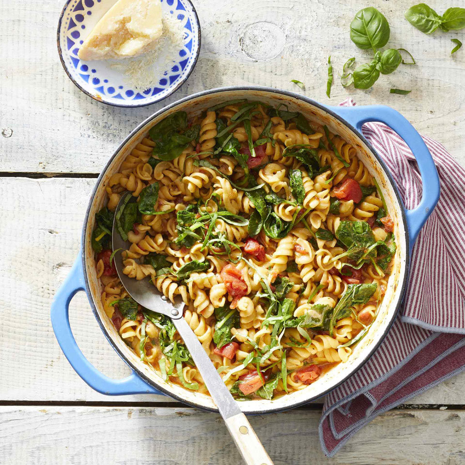 This one-pot pasta with tangy tomato-basil sauce is a simple, fast and easy weeknight dinner. All of your ingredients go into one pot, and with a bit of stirring and about 25 minutes of cook time, you'll have a healthy dinner the whole family will enjoy. Source: EatingWell.com, March 2019