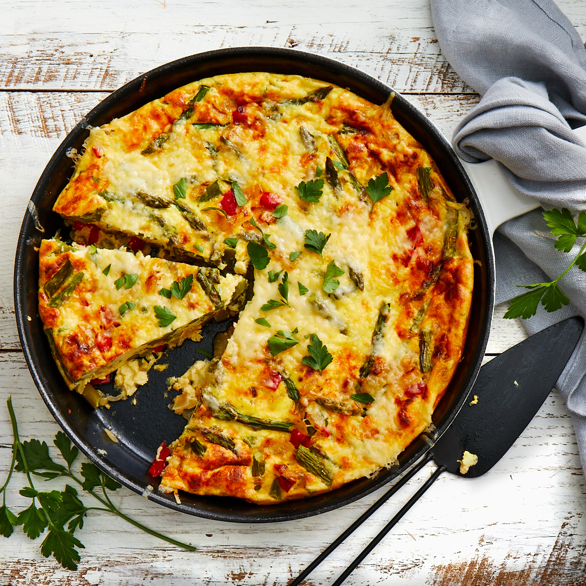 Perfect for a spring brunch or light supper, this Italian omelet is baked so it is easy to serve to a group. Source: EatingWell Magazine, March/April 1997