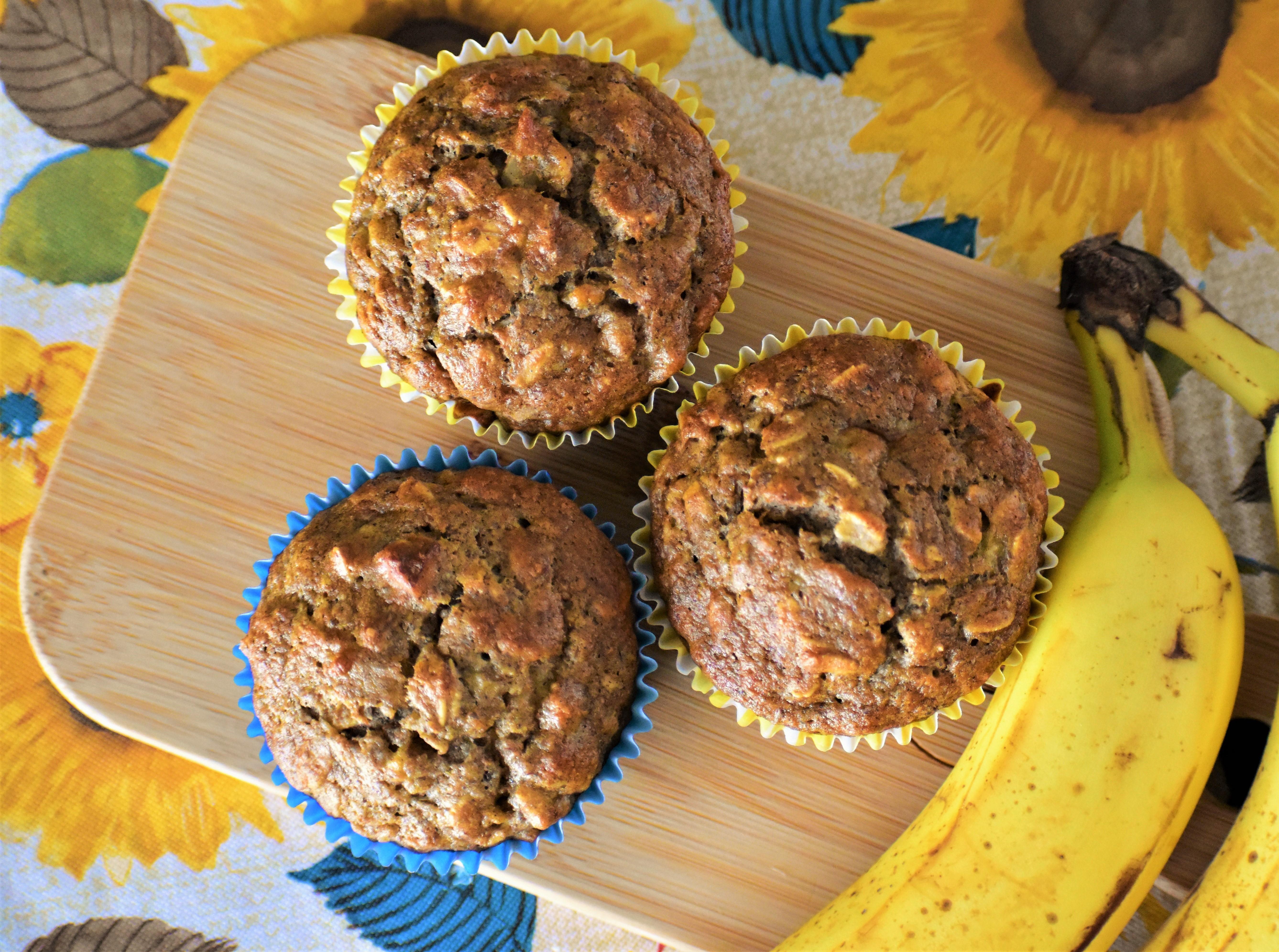 Whole Wheat Banana Oat Muffins