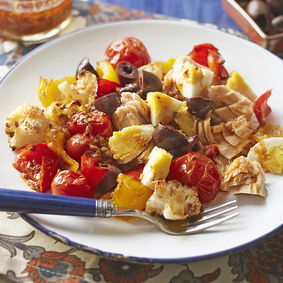 Tunisian Roasted Vegetables with Tuna & Hard-Boiled Eggs Diabetic Living Magazine