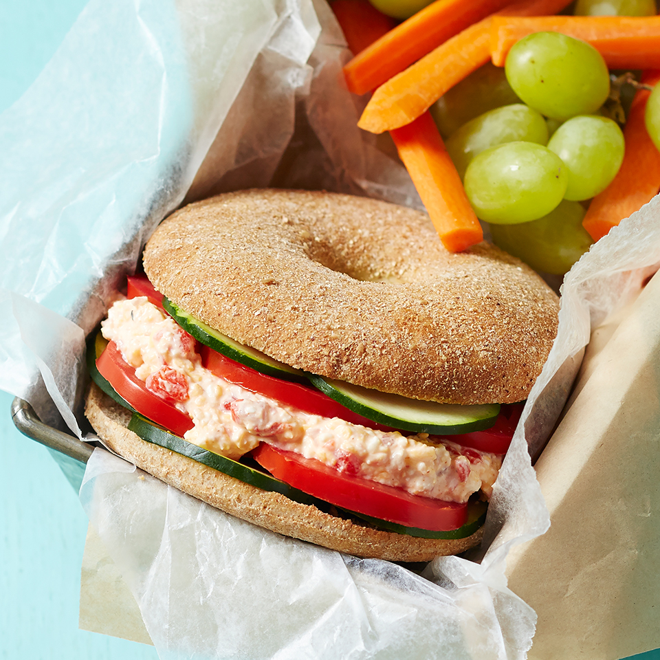 These packable make-ahead bagel thin sandwiches are layered with tomato, zucchini, and a creamy cheese and pimiento pepper spread. Heading out for a picnic? Double or triple the recipe to make enough for four or six guests. Source: Diabetic Living Magazine
