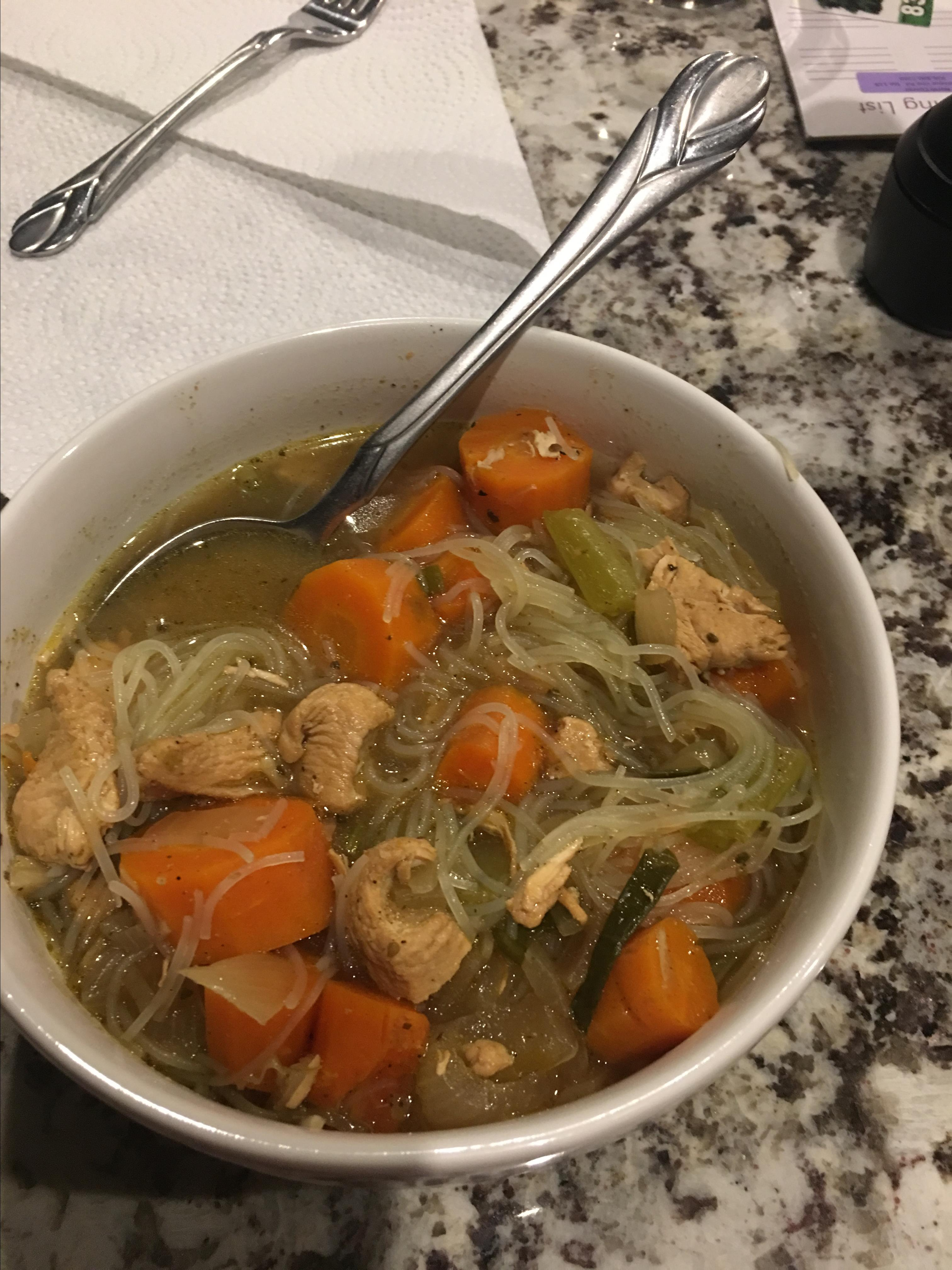 Spicy Chicken Thai Noodle Soup