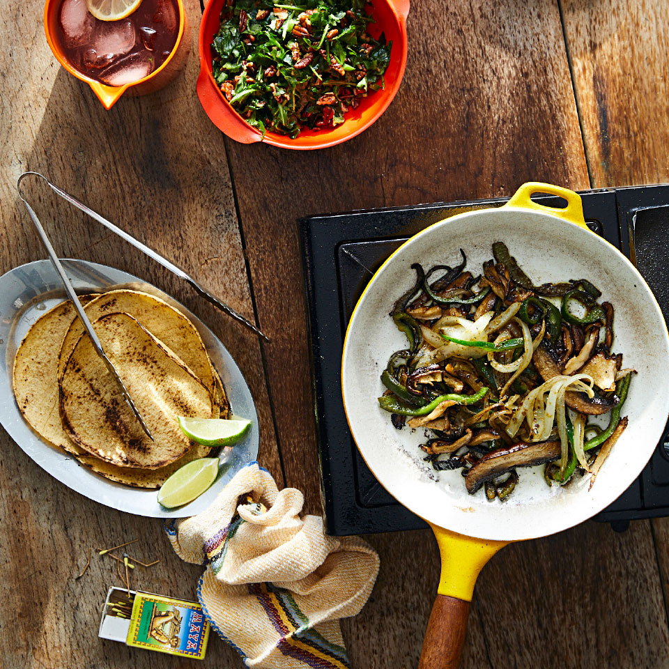 Mushroom Fajitas with Arugula-Pecan Salsa & Queso Fresco Trusted Brands