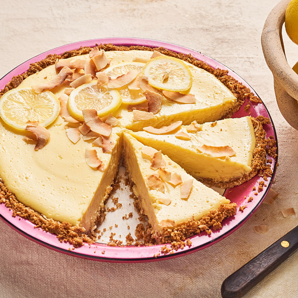 Light and delicious, this easy old-fashioned lemon icebox pie takes dessert up a notch thanks to coconut in the crust, which boosts both flavor and texture. For the brightest hit of citrus use fresh-squeezed lemon juice. Look for graham crackers made with 100% whole-wheat flour to get the most fiber. Seeing graham flour on the label? Good news--that's coarsely ground whole-wheat. Source: EatingWell Magazine, April 2019