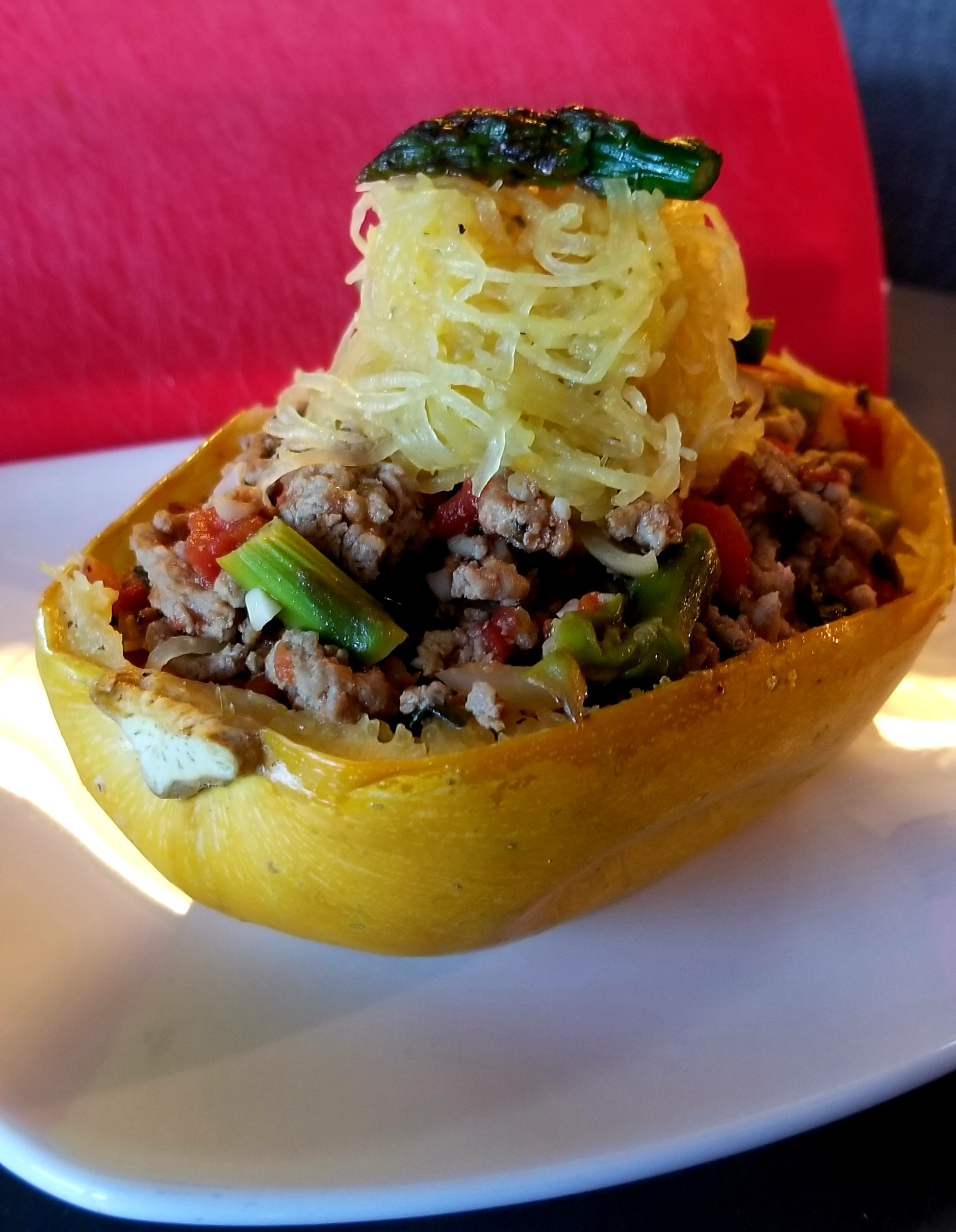 Roasted Spaghetti Squash with Ground Turkey and Vegetables