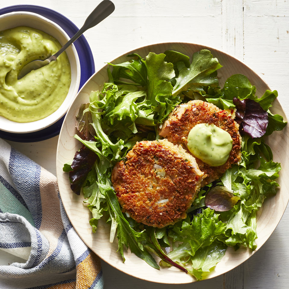 "These vegetarian ""crab"" cakes are made with jackfruit, a tropical fruit with a chewy, meatlike texture. Jackfruit has a mild, slightly sweet flavor like crabmeat. All that's needed to make these a full meal is a flavorful dipping sauce and a lightly dressed side of greens. Source: EatingWell.com, March 2019"