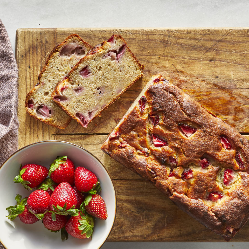 Give classic banana bread a sweet twist with the addition of juicy strawberries. The combination of the fruits turns this simple quick bread into a bright, sweet breakfast bread, snack or dessert. For an extra-decadent treat, serve each slice with a scoop of sliced strawberries. Source: EatingWell.com, March 2019