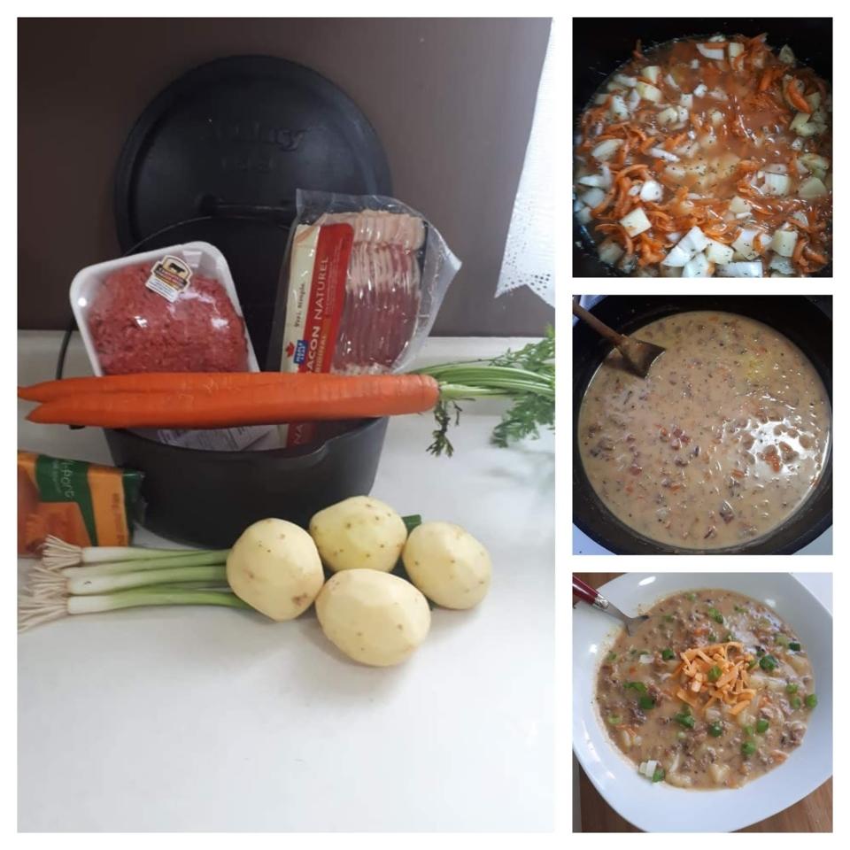 Dutch Oven Bacon Cheeseburger Soup