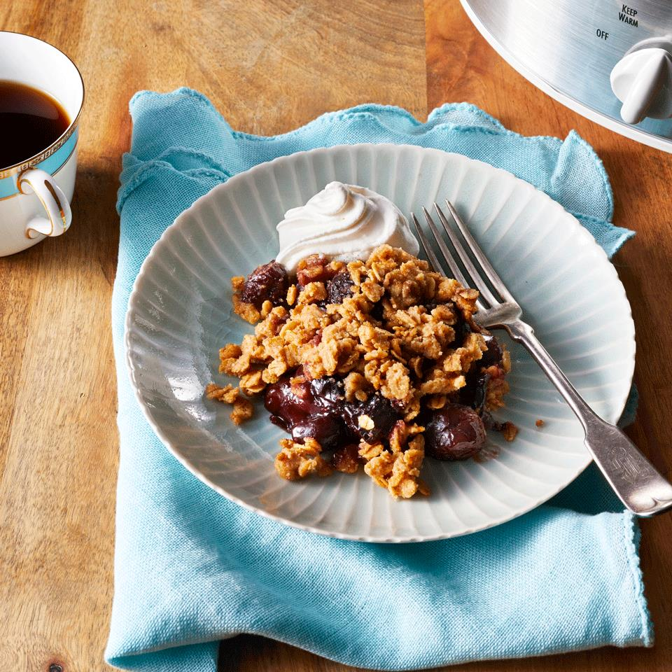 While you're focused on every other dish for the backyard barbecue, let the slow cooker make cherry cobbler for a crowd. With frozen fruit, this easy slow-cooker dessert can be made and enjoyed any time of year. Source: EatingWell.com, March 2019