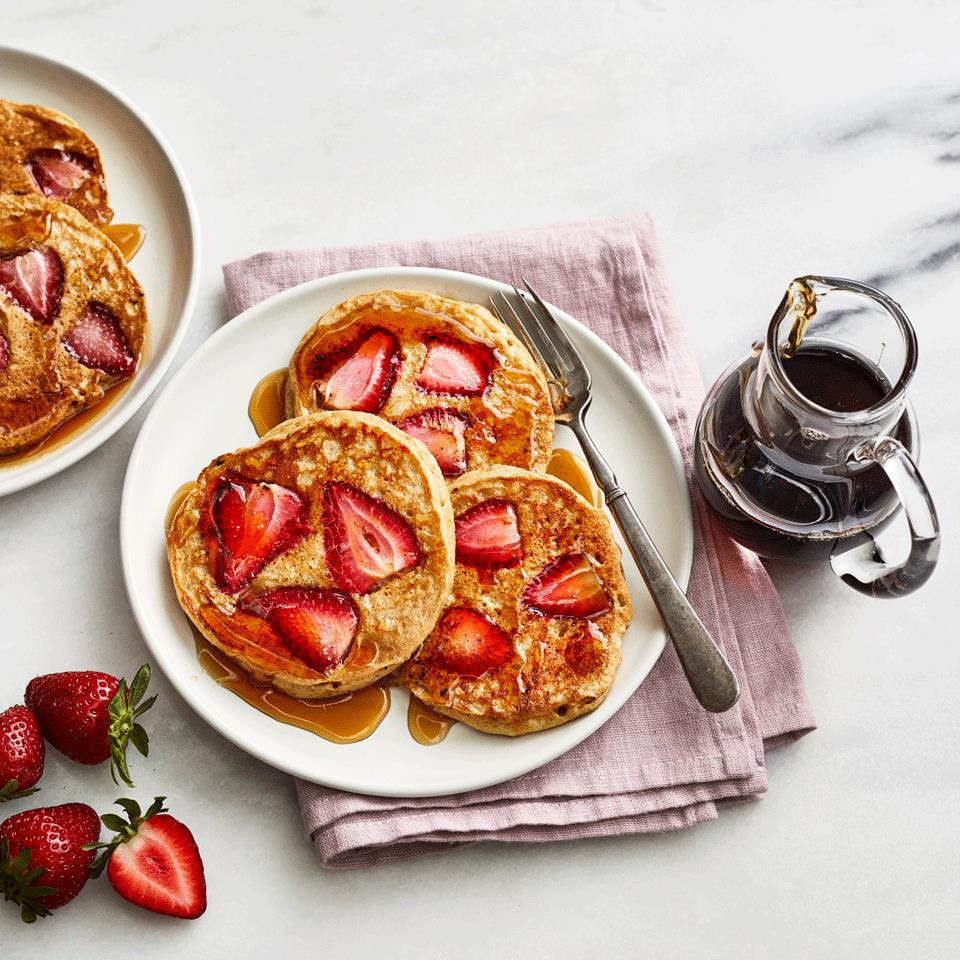 Every day should start with a stack of strawberry pancakes. These old-fashioned pancakes are made with white whole-wheat flour so you get a bit of whole grain in every bite, but they're still lightly and fluffy, just like your family likes. Source: EatingWell.com, March 2019