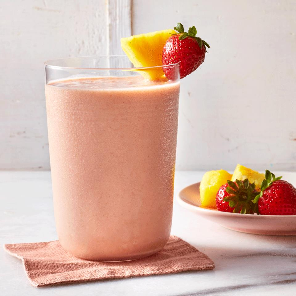 Blend almond milk, strawberry and pineapple for a smoothie that's so easy you can make it on busy mornings. A bit of almond butter adds richness and filling protein. Freeze some of the almond milk for an extra-icy texture. Source: EatingWell.com, March 2019