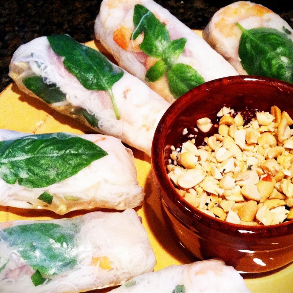 Thai Basil Rolls with Hoisin-Peanut Sauce ChefAndreaStrauss