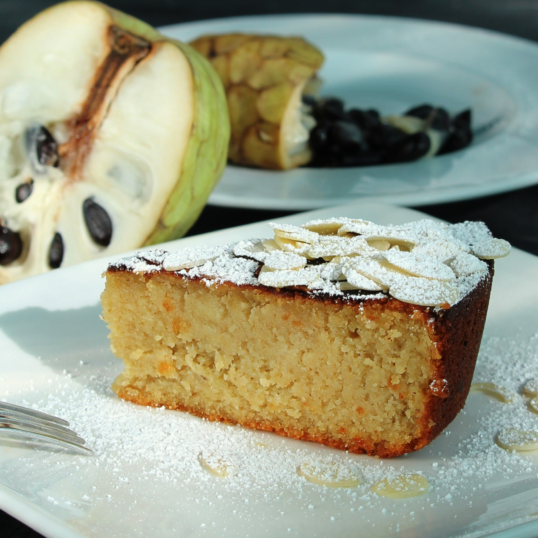 Cherimoya-Almond Cake