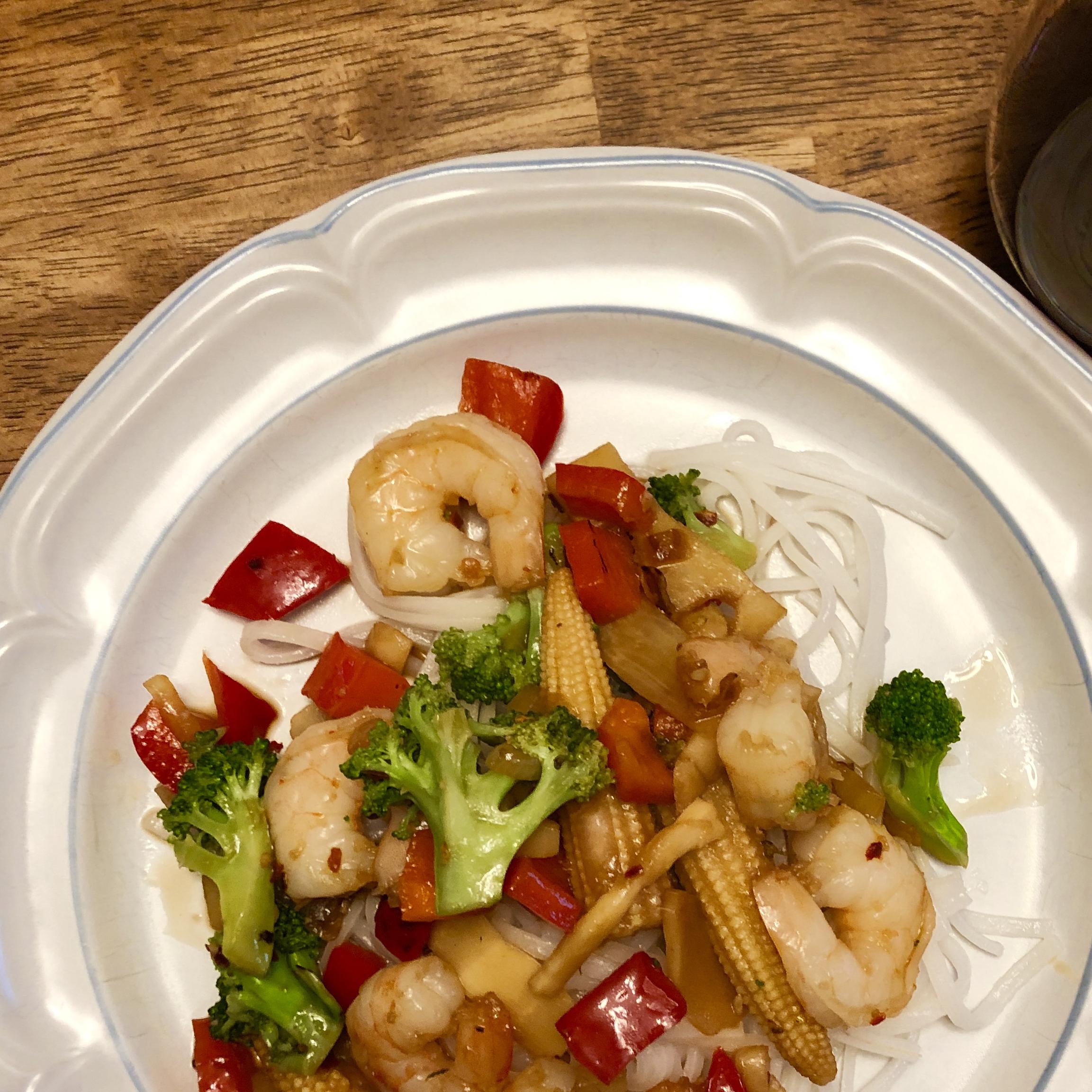 Shrimp Stir Fry With Egg Noodles artsie ace