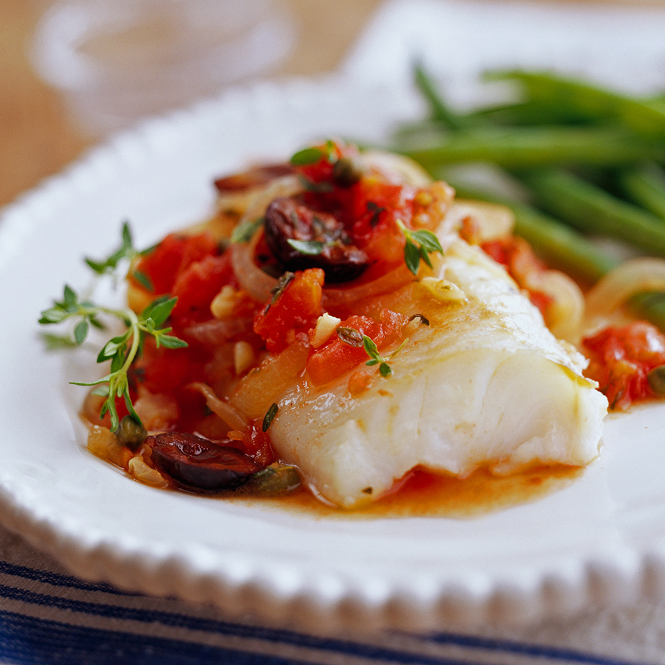 These fork-tender fish fillets reflect the cooking style of the Provence region of France. Dishes from the area often include olive oil, onion, garlic, tomatoes, and olives—and you'll find all of those in this 25-minute entree.