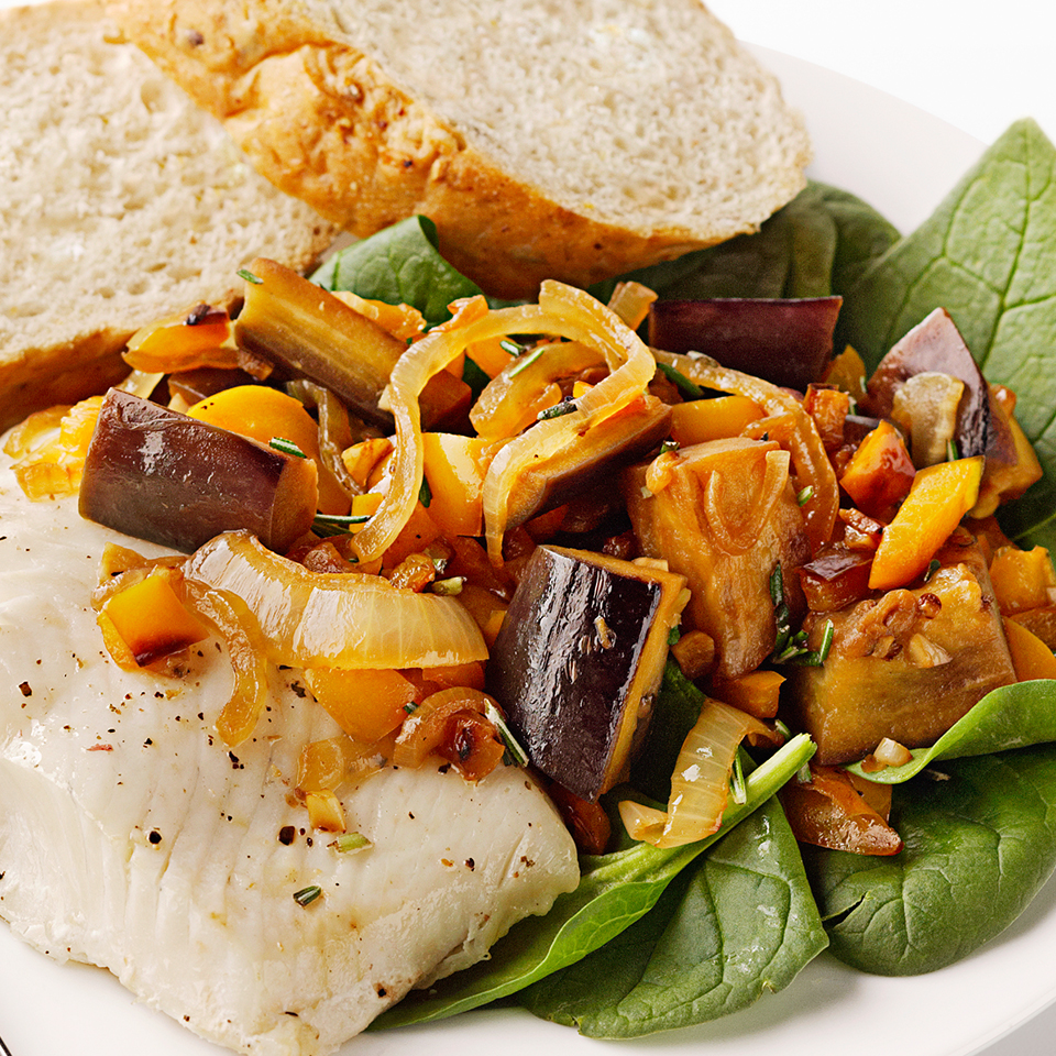 This recipe pairs a fragrant rosemary-laced eggplant and bell pepper sauce with steamed halibut steaks. Served over a bed of fresh spinach with whole-grain baguette slices, this dinner is on the table in just 45 minutes. Source: Diabetic Living Magazine