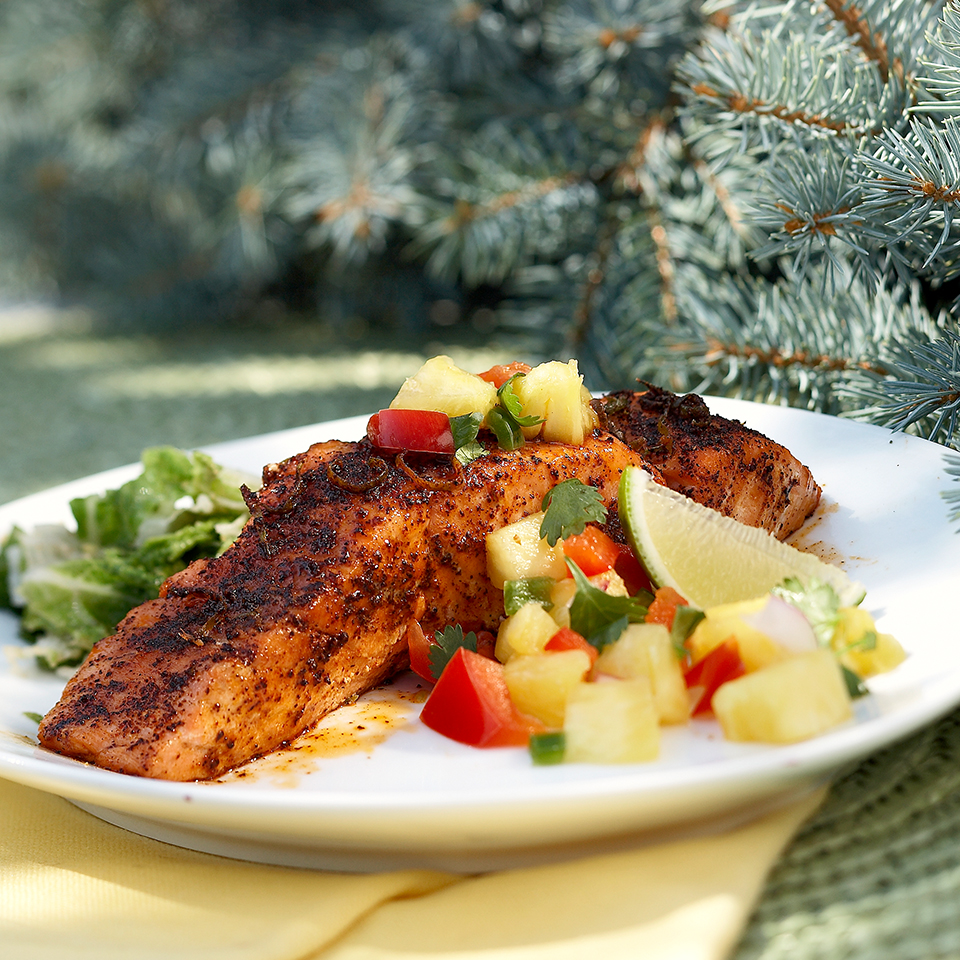 Serve this island-inspired salmon with fruity salsa for dinner and your guests may just think you're in the tropics. Not in the mood for fish? The salsa also works well with chicken and pork. Source: Diabetic Living Magazine