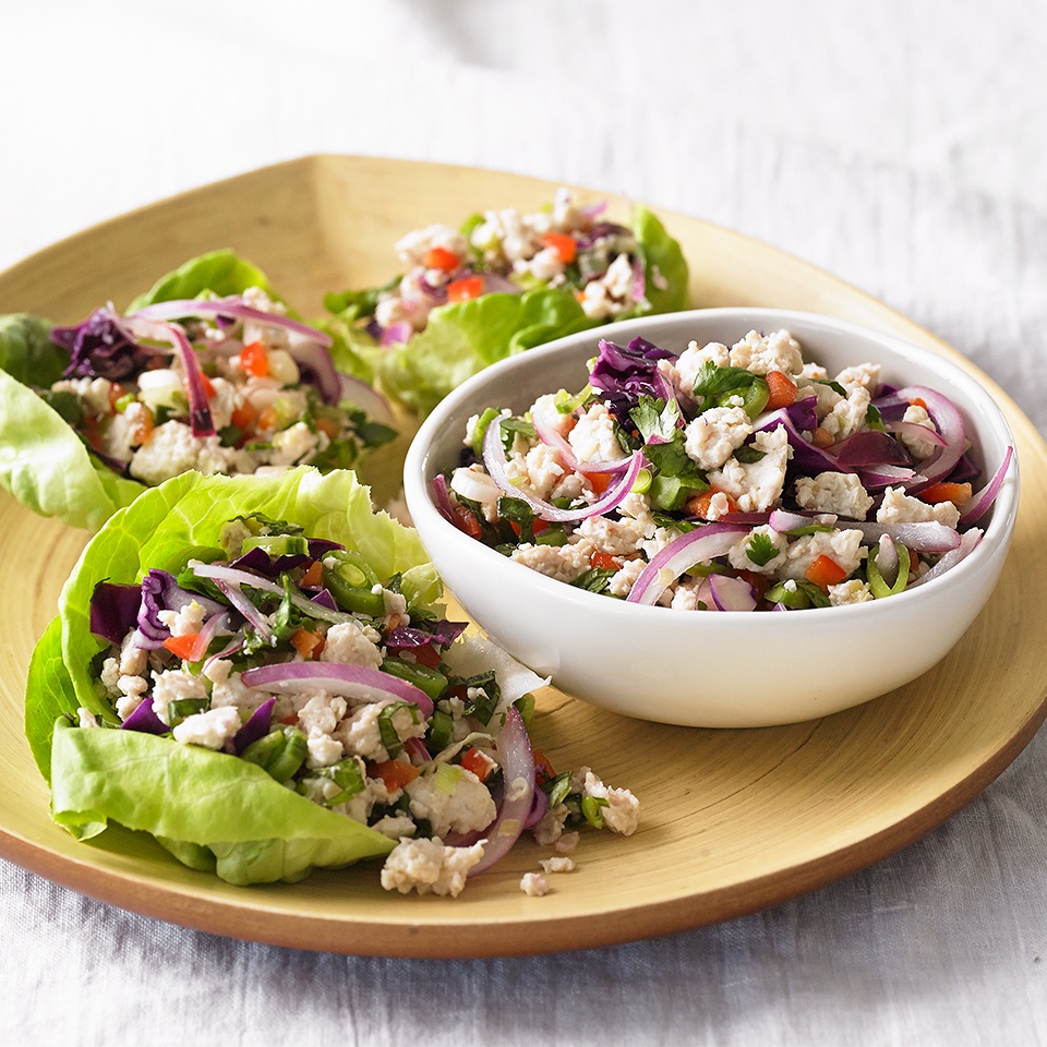 Who needs a tortilla when a lettuce leaf will do just fine? These low-carb Thai-inspired lettuce cups are full of cooked chicken, crunchy cabbage and snap peas, fresh mint and cilantro, and zesty scallions and red onion. A limey-hot sauce blend works well to bring all of the flavors together.Source: Diabetic Living Magazine