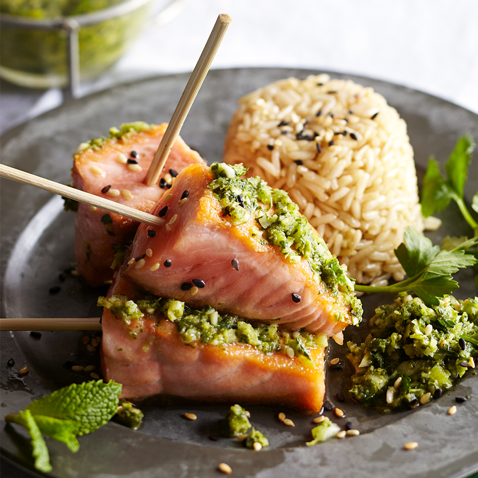 Wild-Caught Salmon Satay with Asian-Style Pesto Trusted Brands