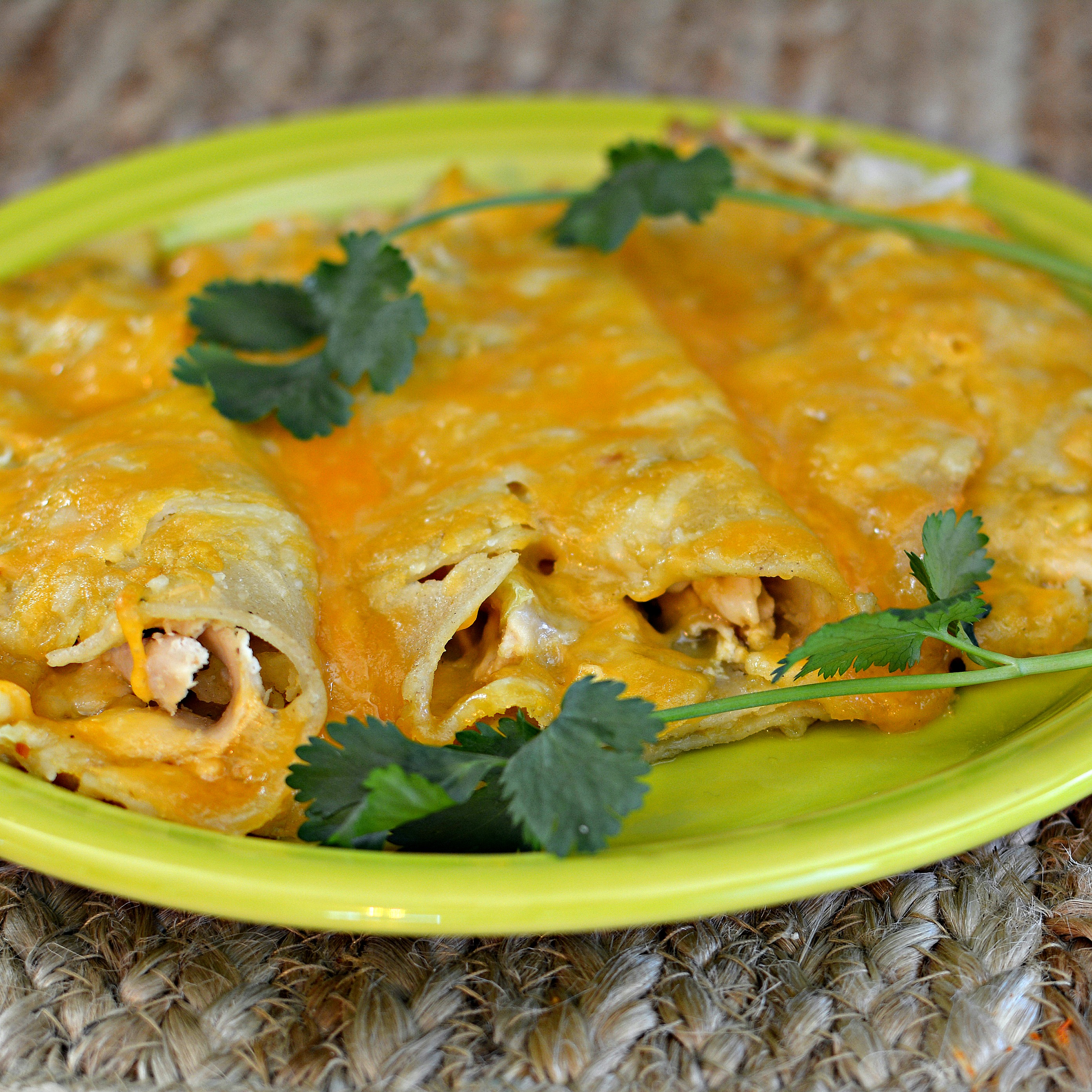 """""""The Instant Pot certainly speeds up the process of these tasty enchiladas,"""" says bd.weld.""""I used a blend of Monterey Jack and Cheddar cheese. I didn't have red sauce on hand so I used only green nonetheless these are keepers."""""""