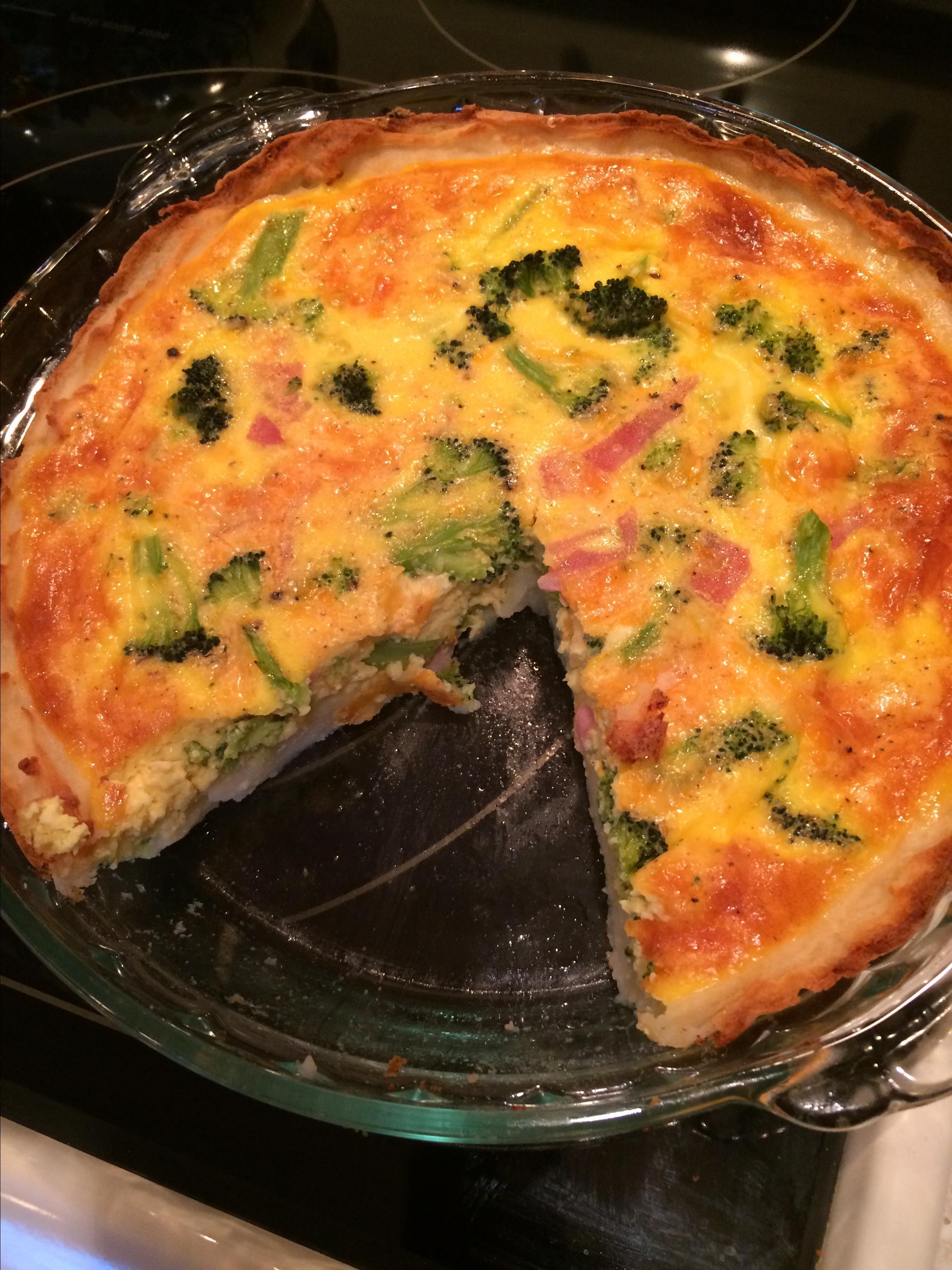 Broccoli Quiche with Mashed Potato Crust