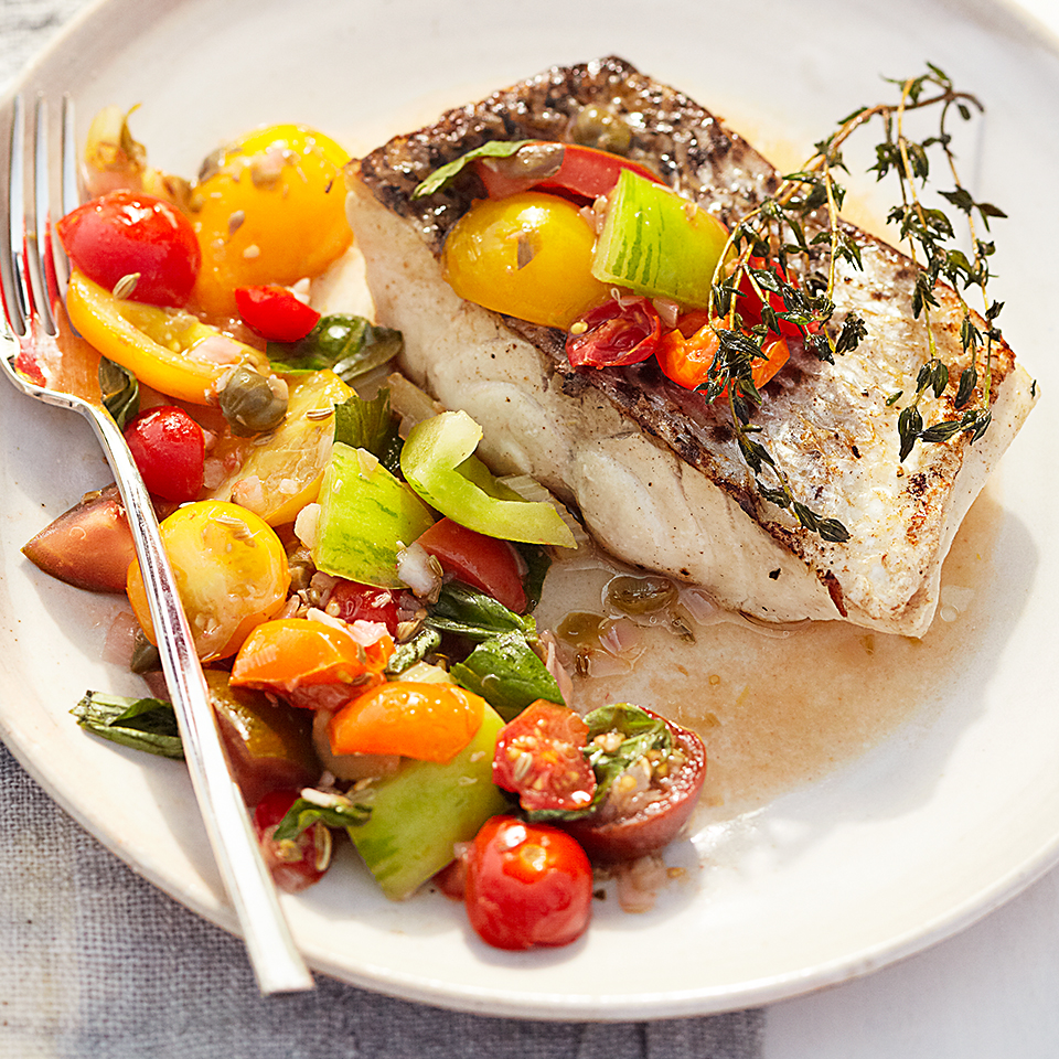 Striped Bass with Tomato Relish Diabetic Living Magazine