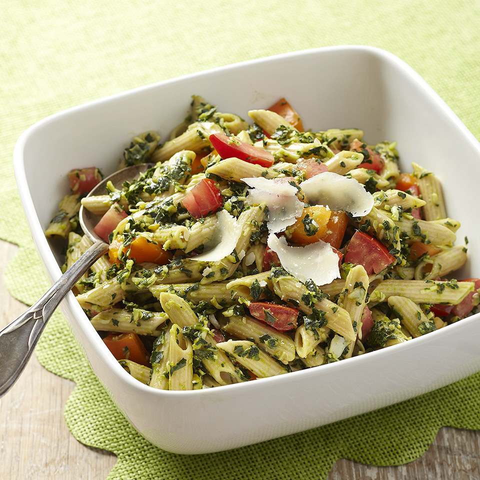 This 25-minute pasta side dish goes well with chicken or fish and can be served either warm or at room temperature. Kale and basil create a fresh-tasting pesto that is packed with protein and taste, thanks to the addition of chickpeas. We like shaved Parmesan sprinkled on the top, but feel free to add toasted pine nuts or walnuts for some crunch. Source: Diabetic Living Magazine