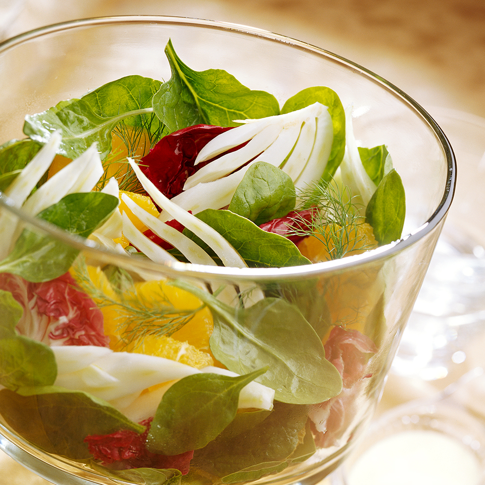 The creamy citrus dressing on this healthy autumn-inspired salad brings out the intense flavors of sweet fennel and bold radicchio. Source: Diabetic Living Magazine