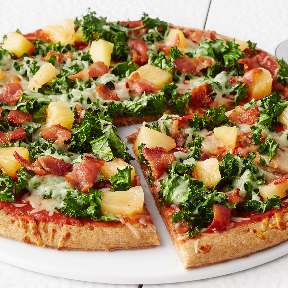 This homemade Hawaiian pizza can be on the table in just 20 minutes and thanks to the bonus addition of kale--has more fiber, calcium, and vitamin K than takeout.Source: Diabetic Living Magazine