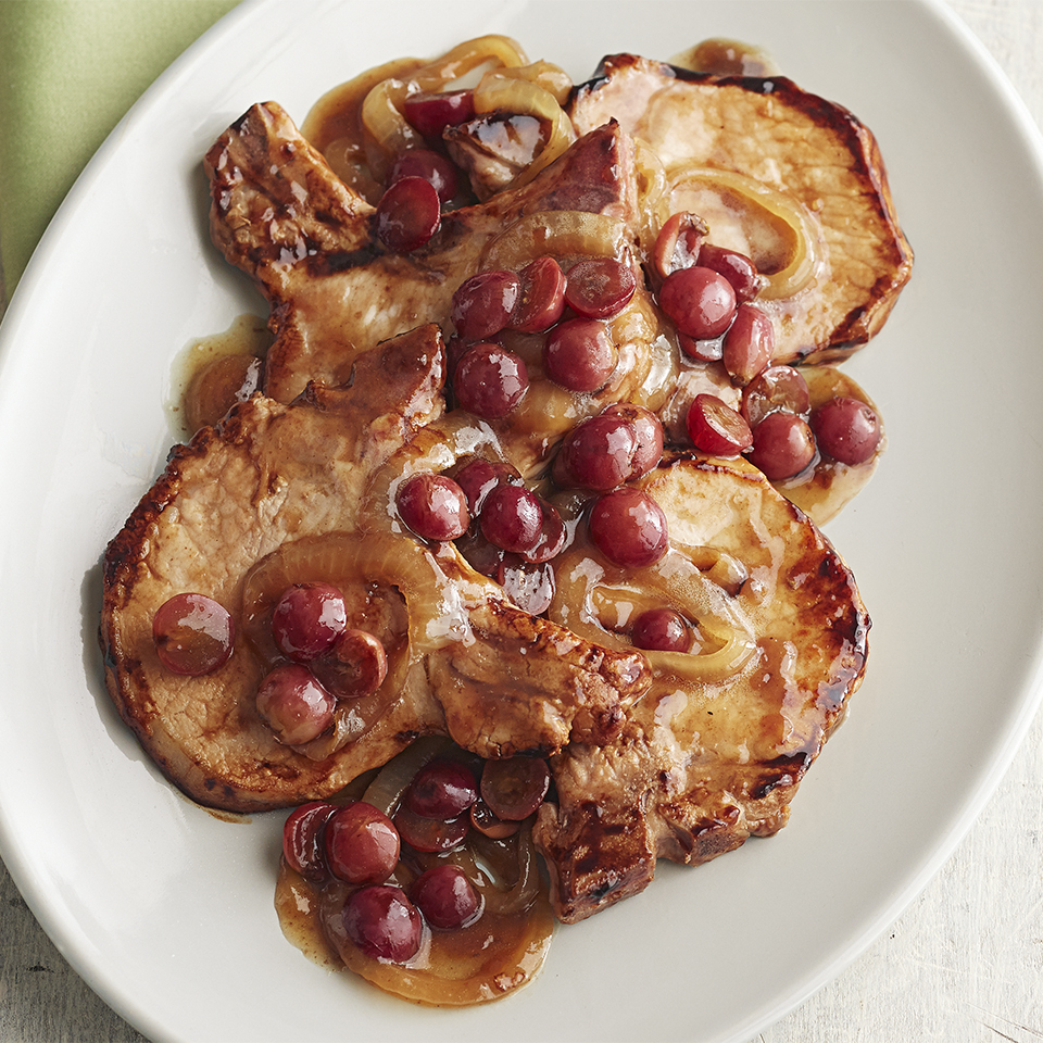 Sautéed Pork Chops with Balsamic Grape Sauce Trusted Brands