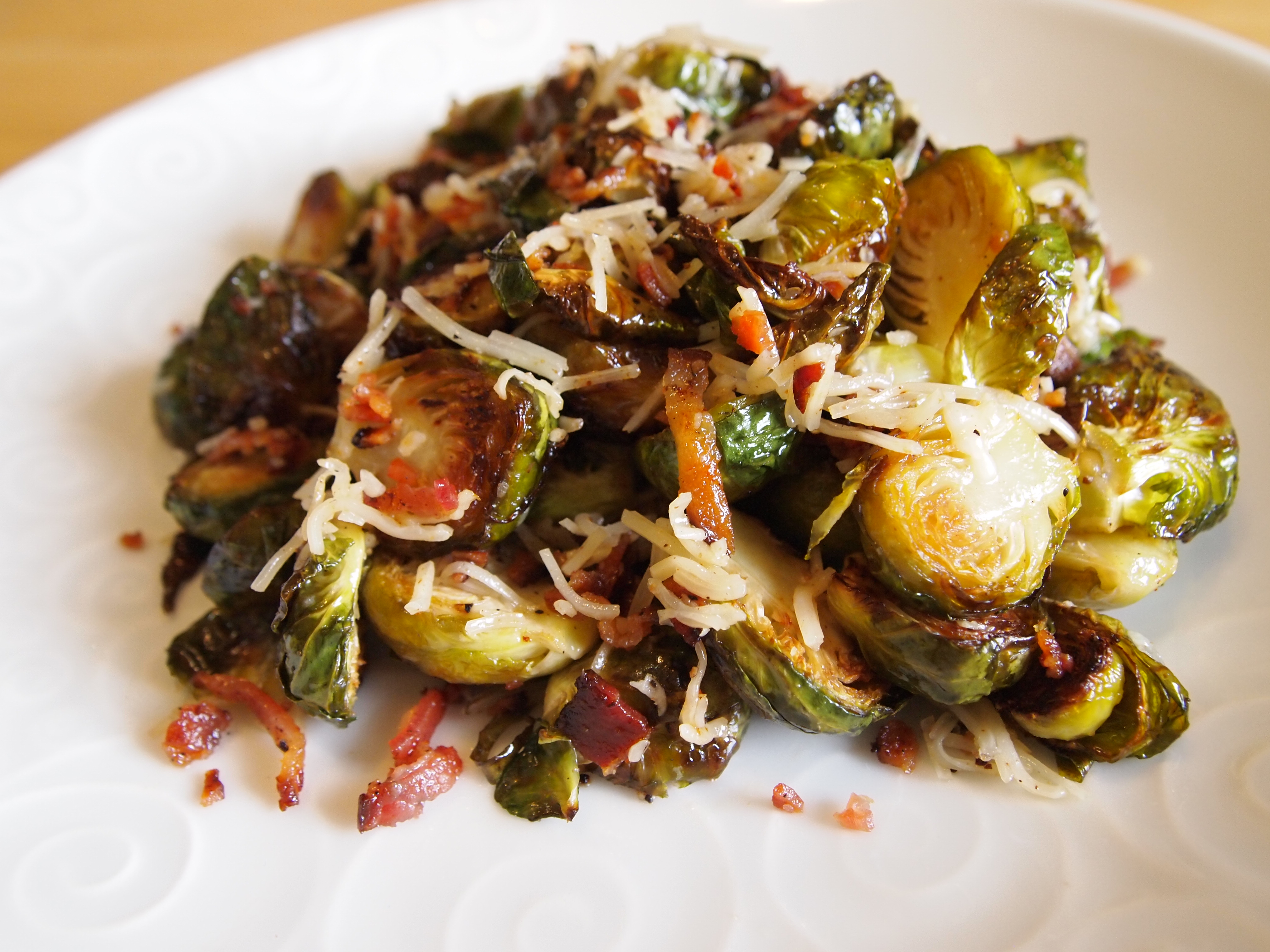 Garlic-Roasted Cheesy Brussels Sprouts