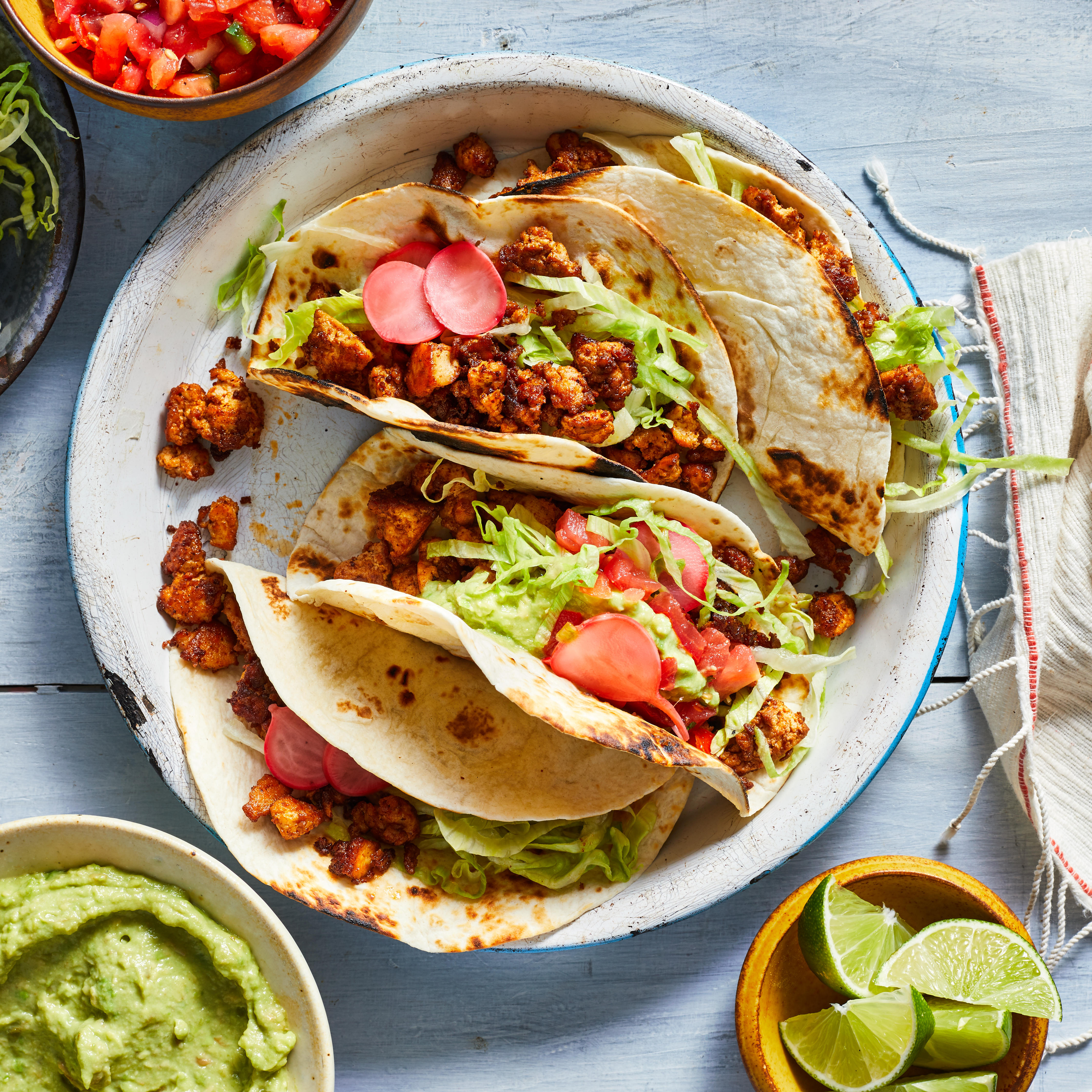 Take taco night in a new direction with these healthy vegan tacos. We've swapped crumbled tofu for the ground beef, without sacrificing any of the savory seasonings you expect in a taco. You can also use the filling in burritos, bowls, taco salads and to top nachos. Source: EatingWell.com, March 2019