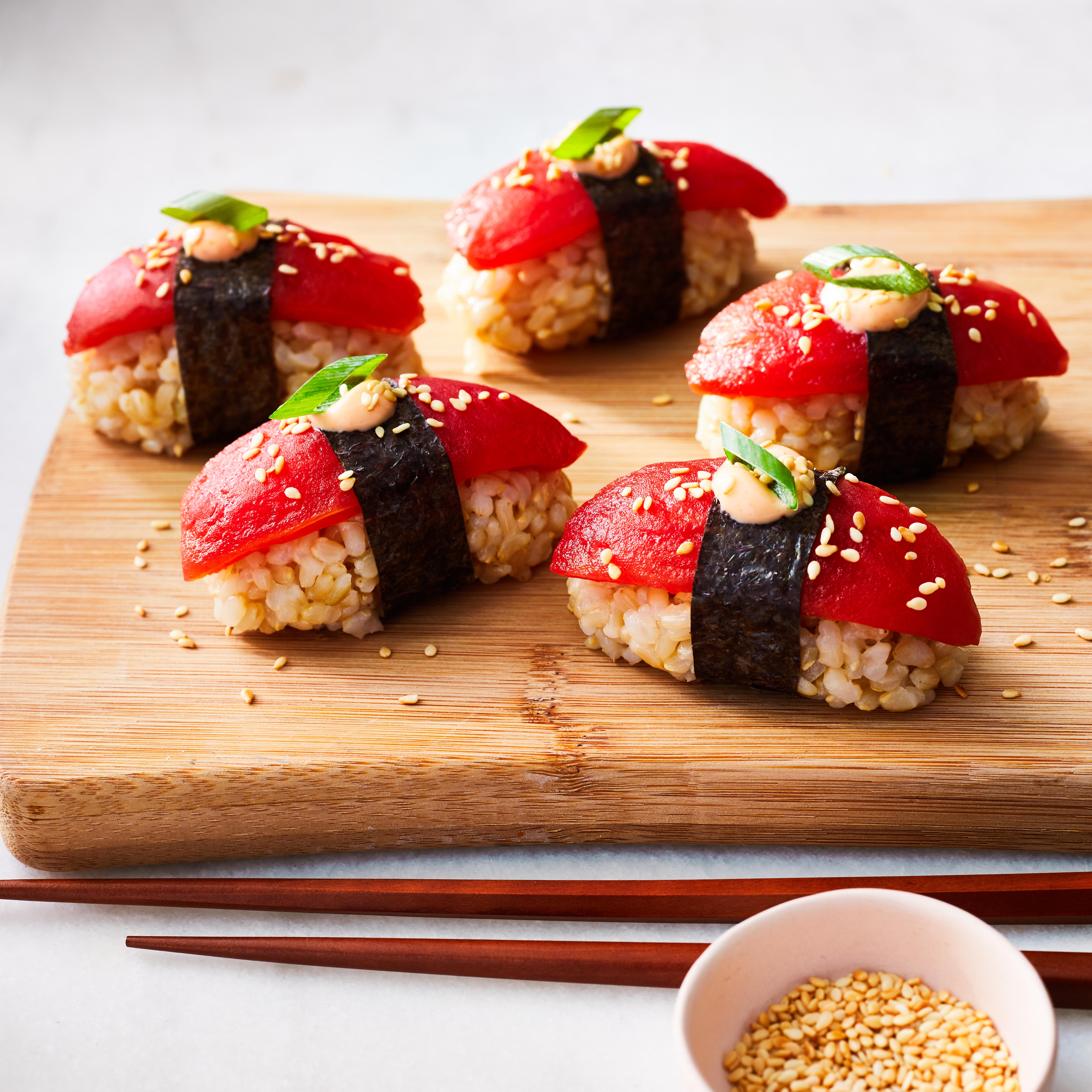 "Vegan Sushi with Tomato ""Tuna"" Trusted Brands"