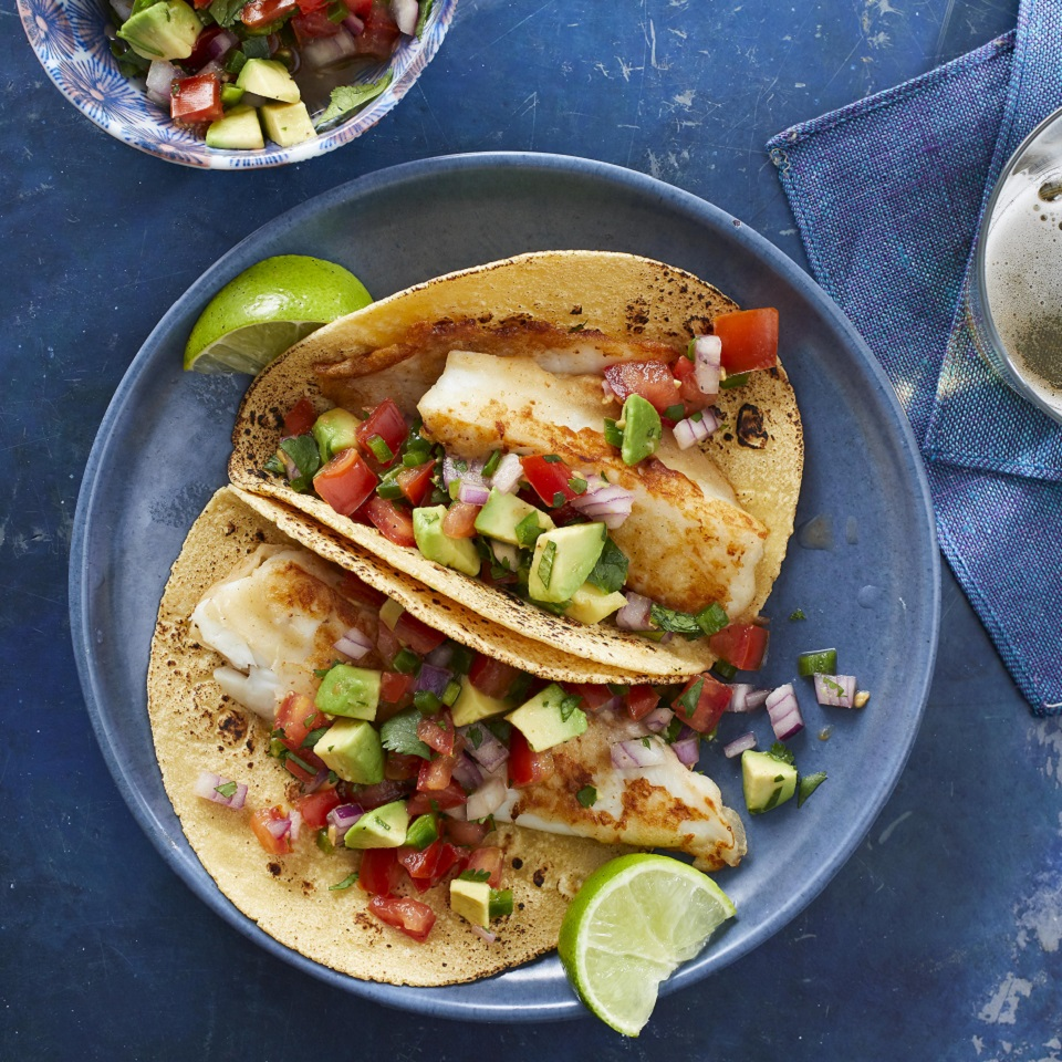 Beer-Battered Fish Tacos with Tomato & Avocado Salsa Trusted Brands