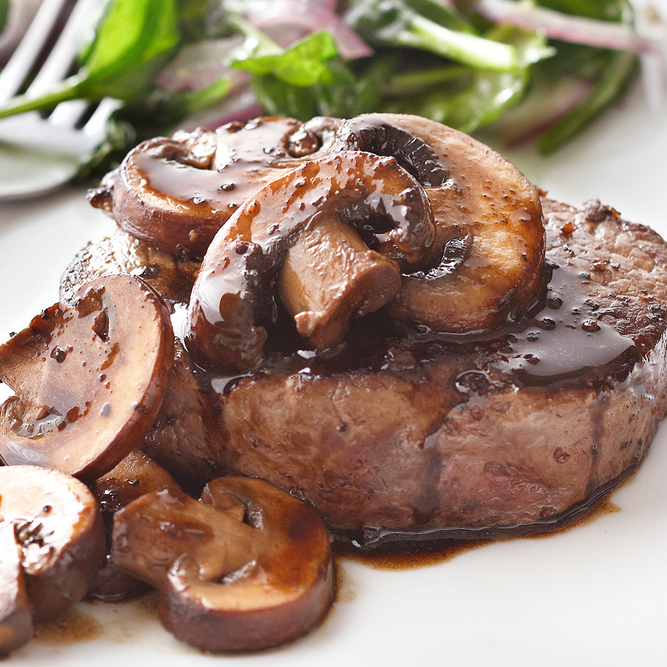 Beef Tenderloin Steaks with Brandied Mushrooms Trusted Brands