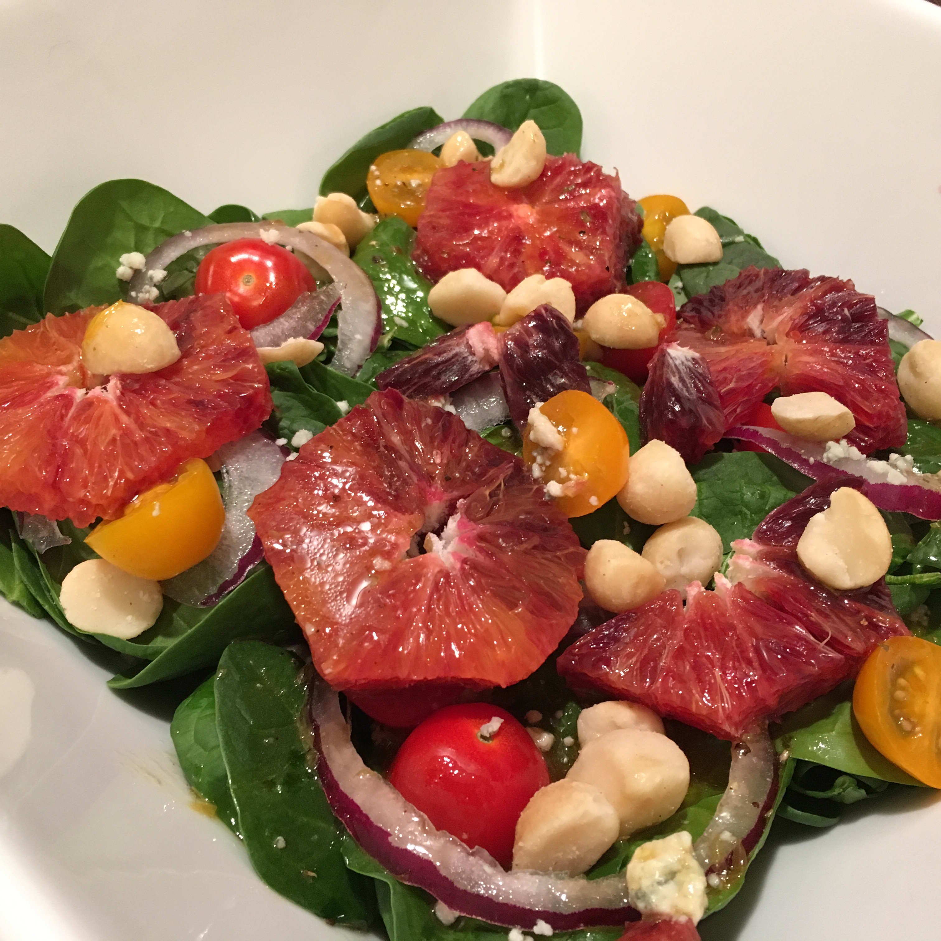 Spinach Salad with Blood Oranges and Macadamia Nuts