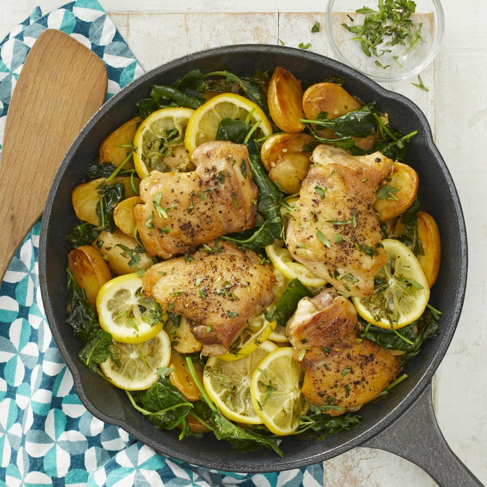 Skillet Lemon Chicken & Potatoes with Kale Carolyn Casner