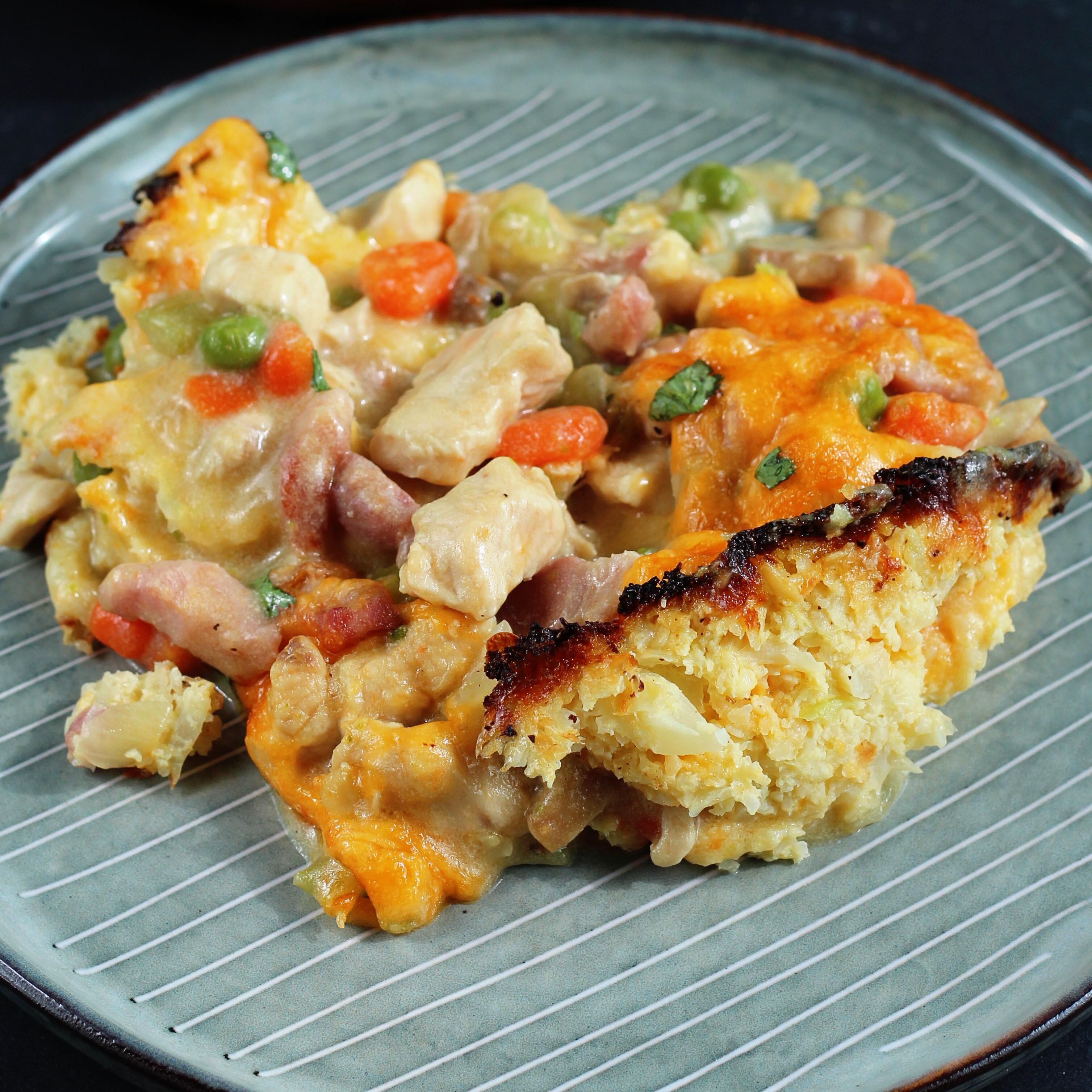 Keto Chicken Breast Pot Pie with Cauliflower Crust