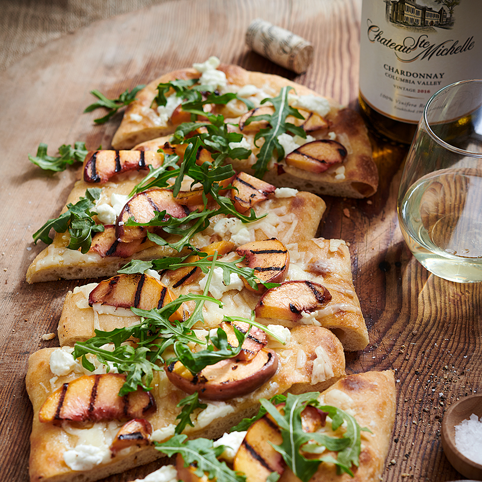 Grilled Peach and Goat Cheese Flatbread Chateau Ste Michelle