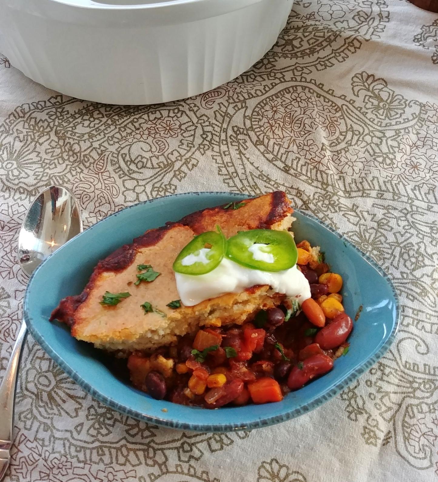Veggie Chili Cornbread Casserole