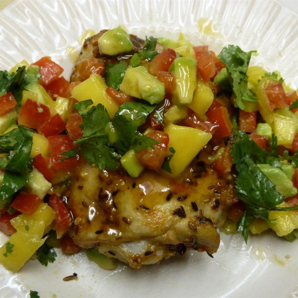 Spicy Cuban Mojo Chicken with Mango-Avocado Salsa Manana bread
