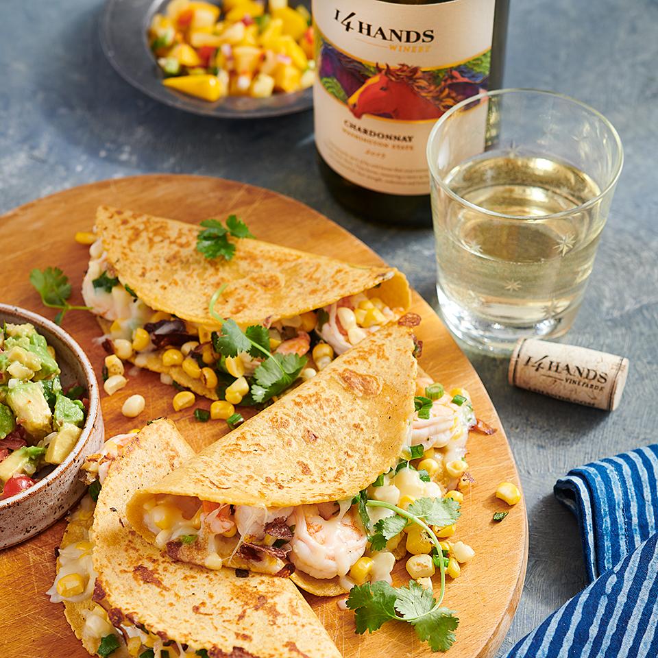 Corn and Shrimp Quesadillas 14 Hands Winery