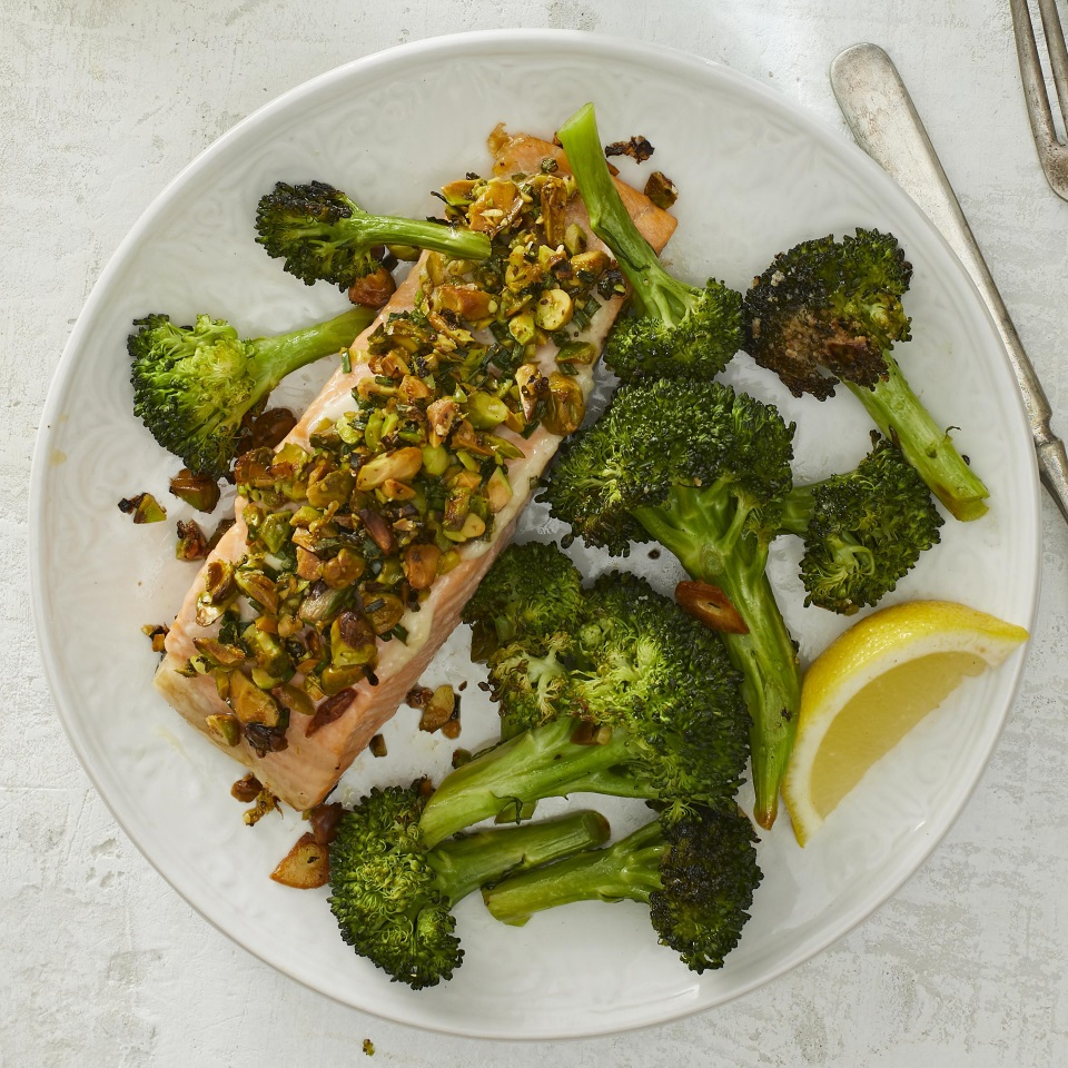 This easy one-pan roasted salmon with broccoli is quick enough for weeknight dinners but elegant enough for company. The lemony pistachio crust would also be lovely on other types of fish or on chicken breasts.